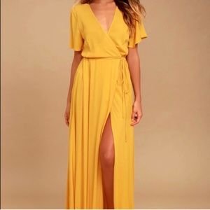 Lulus yellow wrap dress!